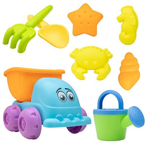 USA Toyz Beach Toys for Toddlers - 8pk Sandbox Toys for Kids w/ Dump Truck, Sea Animal Sand Molds, Beach Shovel, Sand Tools