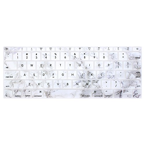 MOSISO Silicone Keyboard Cover Protective Skin Compatible MacBook Pro 13 Inch 2017 & 2016 Release A1708 Without Touch Bar, New MacBook 12 Inch A1534, Gray Marble on White Base