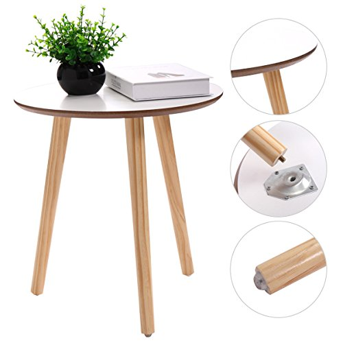 JAXPETY Three Legged Bamboo End Table Modern Round Coffee Table Environmentally Friendly Side Table for Magazines, Books & Plants -