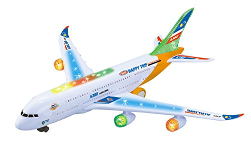 plane Toys Airbus A380 Bump & Go Model Plane with Enchanting Flashing Lights & Realistic Aircraft Sounds-for Boys & Girls-3+ ()
