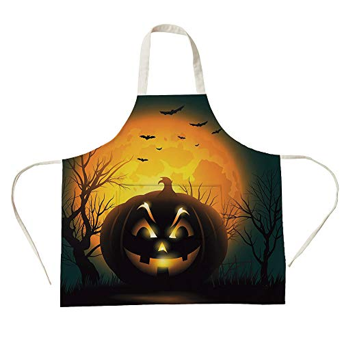 3D Printed Cotton Linen Big Pocket Apron,Halloween,Fierce Character Evil Face Ominous Aggressive Pumpkin Full Moon Bats Decorative,Orange Dark Brown Black,for Cooking Baking Gardening]()