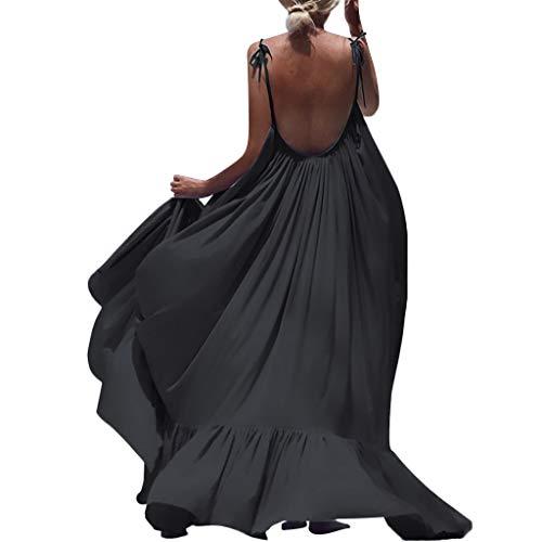 Bcbg Tiered Dress - Women's Maxi Dresses,LuluZanm Sales! Ladies Summer Solid Sleeveless Long Backless Boho Evening Party Beach Dress Black