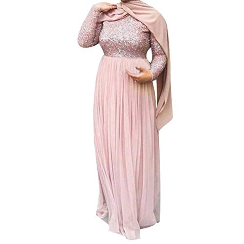 HYIRI Women's Long Sleeve Loose Plain Maxi Pockets Dresses Casual Long Dresses Pink]()