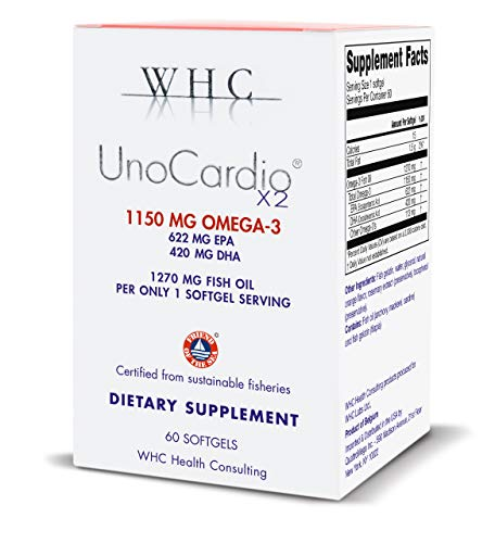 WHC - UnoCardio X2 - Triglyceride Omega-3 fatty acids - 1270 mg fish Oil supplement (622 mg EPA / 420 mg DHA/Total 1150 mg of Omega 3 per serving) (Best Omega 3 Supplement 2019)