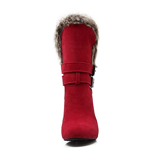 Red Fur Chunky 1TO9 Boots Buckle Girls Ornament Frosted Heels q8zxazwt
