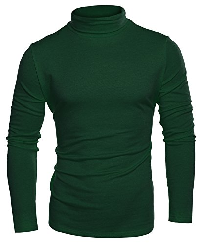 Coofandy Mens Casual Basic Thermal Turtleneck Slim Fit Pullover Thermal Sweaters, Green, XX-Large