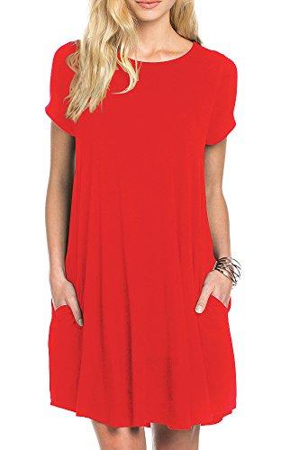 TINYHI Women's Swing Loose Short Sleeve Tshirt Pocket Tunic Dress,Red, Medium]()