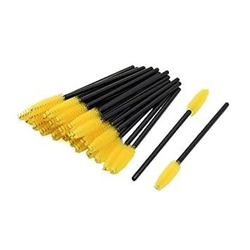 Herramienta de maquillaje eDealMax 25 piezas desechables Amarillo Mascara Wand cepillo de pestañas de extensión de