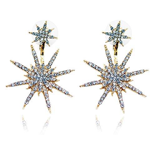 (MIXIA Fashionable Trendy Crystal Rhinestone Ear Studs Lady Women Dangle Gold Star Statement Earring (Gold))