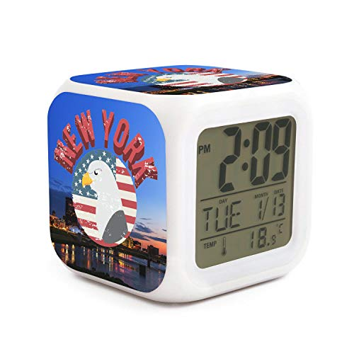 DHBVNMQHHT Alarm Clock Wake Up Bedroom with Data and Temperature Display (Changable Color) Size L8cm x W8cm xH8cm New York Eagle Flag