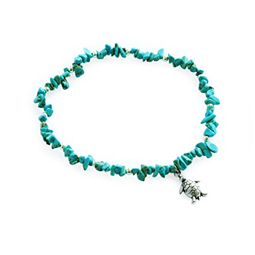 (Me&Hz Women Turquoise Turtle Beach Ankle Anklet Bracelet with Charm Boho Healing Bead Barefoot Jewelry)