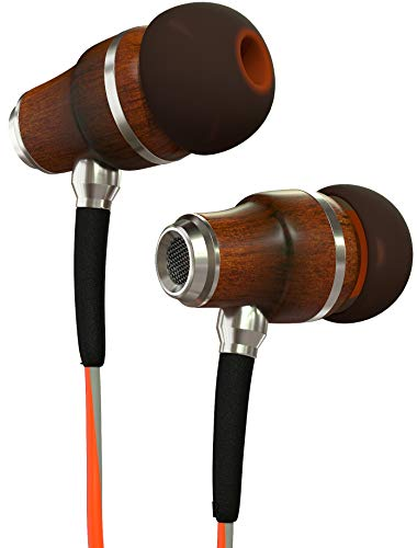 Orange Headphones Earphones - Symphonized NRG 3.0 Earbuds Headphones, Wood in-Ear Noise-isolating Earphones, Balanced Bass Driven Sound with Mic & Volume Control (Fiery Orange & Hazy Gray)