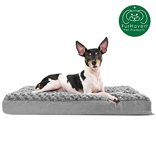 Furhaven Pet Dog Bed | Deluxe Memory Foam Mat Ultra Plush Faux Fur Traditional Foam Mattress Pet Bed w/ Removable Cover for Dogs & Cats, Gray, Medium