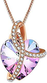 Angelady Eternity of Love Purple Heart Pendant Necklace, Crystals from Swarovski, Love Necklaces for Girls Bir