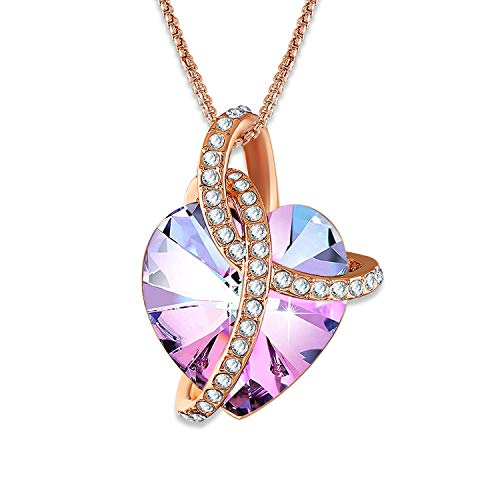 "Angelady""Love Guardian Heart Pendant Necklace Crystals from Swarovski,Gift for Women Birthday Anniversary (Rose Gold)"