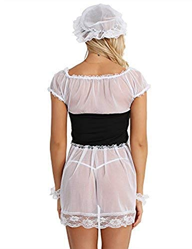 (ACSUSS Women's Sexy French Maid Costume Role Play Game Sheer Lace Lingerie Set White Medium)