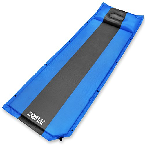 Cheap Foxelli Sleeping Pad – Comfortable & Compact Self Inflating Sleeping Mat with Pillow, Lightweight, Moisture-Proof Camping Pad, Perfect for Hiking & Backpacking