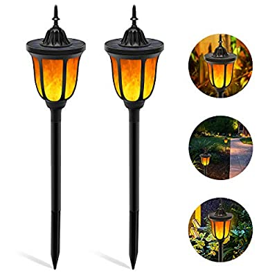 Solar Torch Light with Flickering Flame,ALOVECO 3-in-1 Solar Lights Outdoor Waterproof Solar Flame Lights Landscape Decoration Lighting LED Garden Lights Auto On/Off Torches Light for Patio,Yard-2PACK