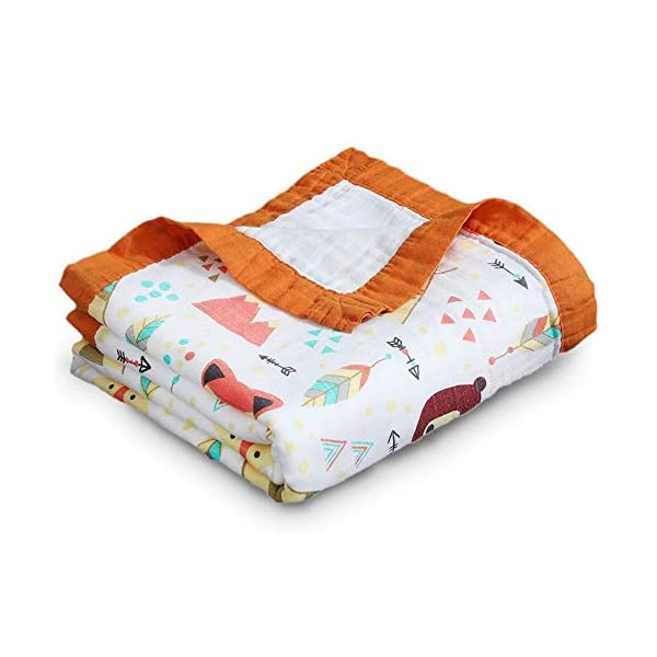 Ultra Soft Bamboo 100% Cotton Muslin Woven Swaddle Baby Blanket 4 layers Lightweight Bath Wrap Covering for Swaddling Newborn, Toddlers, Infant Boys & Girls | 47 x 47 in (Orange, Multicolor)