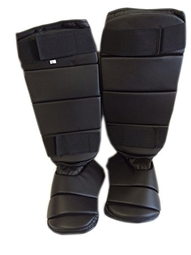 Woldorf USA Shin Guard instep vinyl heavy padded (Black, Large)