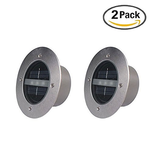 GOSTAR Embed LED Solar Light Lamp Underground Waterproof 3 LED Chips For Outdoor Fence Garden Lawn Yard Path Road Floor Driveway Decking Landscape in Ground Decoration 2 Packs (Warm White)