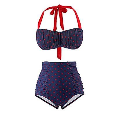 Yarssir Women's Retro 2 Piece Polka Dot High Waisted Bikini Set Push Up Bandeau Swimsuit
