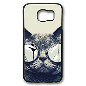E-luckiycase Cool Cat Glasses PC Hard Shell Black Edges Case for Samsung Galaxy S6