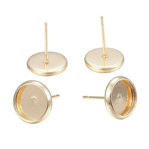 - PH PandaHall 100pcs (50 Pairs) Stainless Steel Earring Post Cup Cabochon Earring Post Gold Plated Stud Earring Findings for Jewelry Making