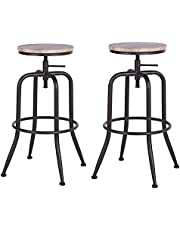 FurnitureR 27-30 INCH Adjustable Seat Height Bar Stools Set of 2, Counter Height Bar Stools Industrial Style 360 Degree Swivel Seat Barstools for Home Bar Furniture, Oak