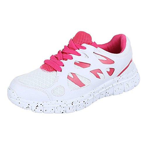 Ital-Design - Zapatillas de Material Sintético para mujer Blanco - Weiß Rosa