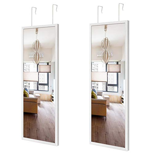 Schliersee Full Length Mirror 14x48 inch Over The Door Mirror 2 Packs Rectangular White Framed Bathroom Mirrors for Wall Decor