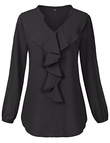 HNNATTA Womens Business Casual Clothing,Lantern Sleeve Double Layer Shirts Tops (Small, Black)