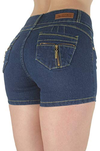 Plus Size, Butt Lifting, Levanta Cola, Mid Waist Denim Booty Shorts in Navy Size 18