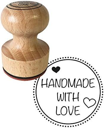 Hamdmade 6er Stempel Holz Made with love Holzstempel Mit Liebe handgemacht  NEU