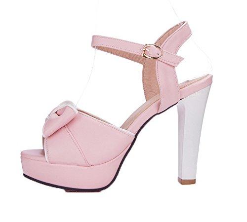 Toe Open Agoolar Gmxlb009748 fibbia tacco rosa con Dress alto Sandals Women 5E51qrFO