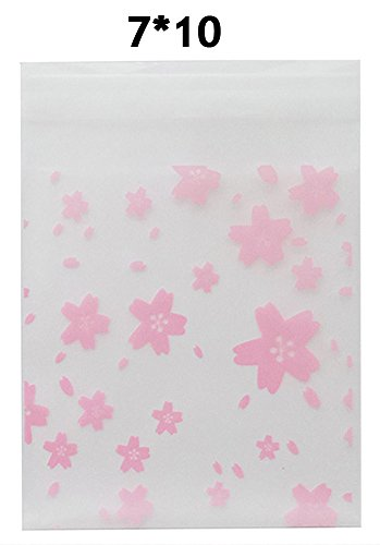 - BleuMoo Transparent Cherry Blossoms Mini Self Adhesive Scrub Opp Bags (7*10 cm)