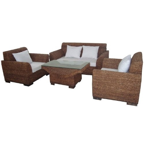 Furniture Seagrass Patio (Essential Décor Entrada Collection 4-Piece Sea Grass Sofa Set with Coffee Table, Dark Brown)