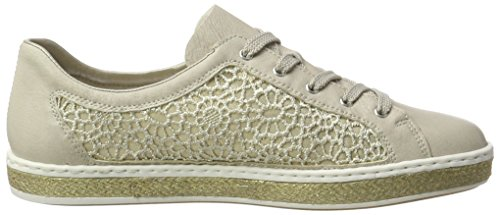 para Beige M8504 Blanco Mujer Offwhite lightgold Rieker 80 Zapatillas qYzxHaBE