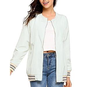 Zeagoo womens quilted Biker Jacket zip up Bomber Jacket Coat,White,Small