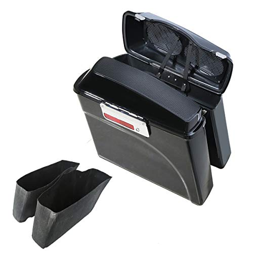 XMT-MOTO Vivid Black Hard Saddlebags With 6x9 inch Dual Speakers Lid fits for 1994-2013 Harley Davidson all Touring Models including road glide, road king, ultra, street glide, electra glide