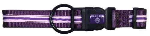 Hamilton Highland Collection Adjustable Dog Collar, 1-Inch by 18 to 26-Inch, Pink Stripe/Plum