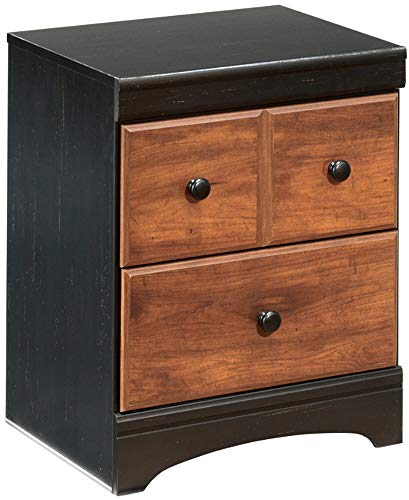 (Ashley Furniture Signature Design - Aimwell Nightstand - 2 Drawers - Replicated Cherry Grain - Dark Brown)