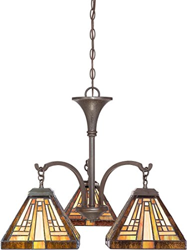 Quoizel TFST5103VB Stephen 3 Light Tiffany Style Dinette Chandelier, Vintage Bronze Finish