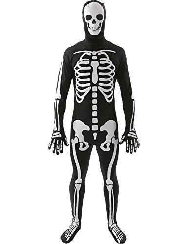 Freelyna Mens Hallowmas Cosplay Clothing Series Long Sleeve Skeleton Print Dress (XL, MENS)