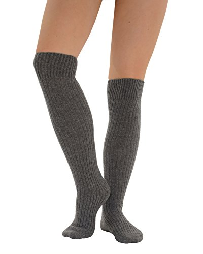 Womens Slouch Rib Knee Socks Cashmere Virgin Wool Blend Sock 7 Color Options Color:: Grey