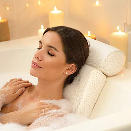 Luxurious Thick Premium Support Head, Neck & Shoulder Spa and Bath Pillow with Suction Cups for Bathtub, Hot Tub and Jacuzzi (White)