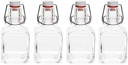 slkfactory 8 Botellas de Vidrio vacías con Soporte de Bloqueo basculante, 200 ml/20 cl, se Pueden llenar con Jugo, Licor, vinagre, Aceite, Batidos