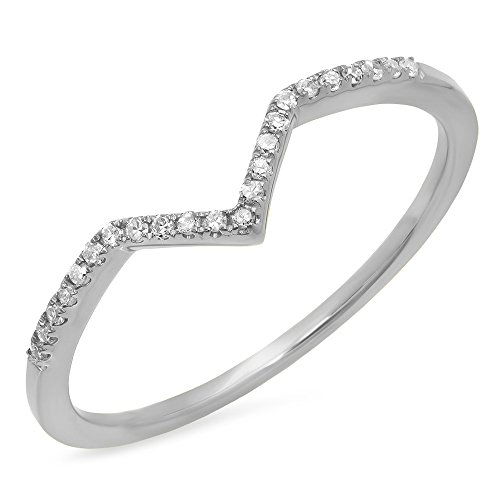 0.10 Carat (ctw) 10K White Gold Round Diamond Wedding Stackable Guard Chevron Ring 1/10 CT (Size 5) by DazzlingRock Collection