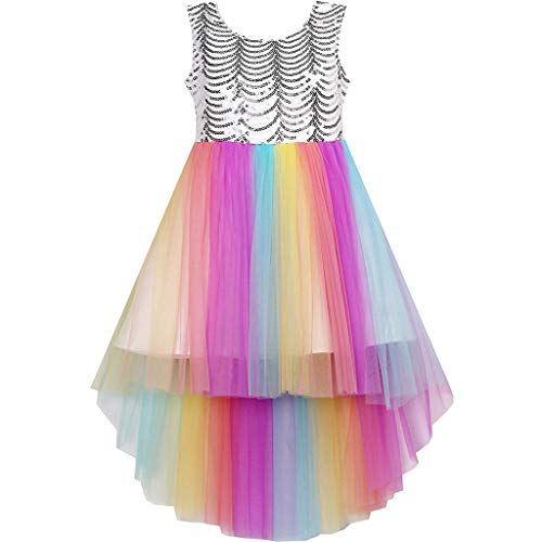 Teen Kids Girls Sequin Ball Gown Party Wedding Costume Sleeveless Princess Tulle Rainbow Dresses