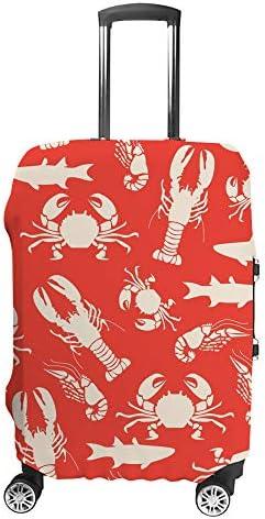 スーツケースカバー カニ サメ エビ 伸縮素材 キャリーバッグ お荷物カバ 保護 傷や汚れから守る ジッパー 水洗える 旅行 出張 S/M/L/XLサイズ